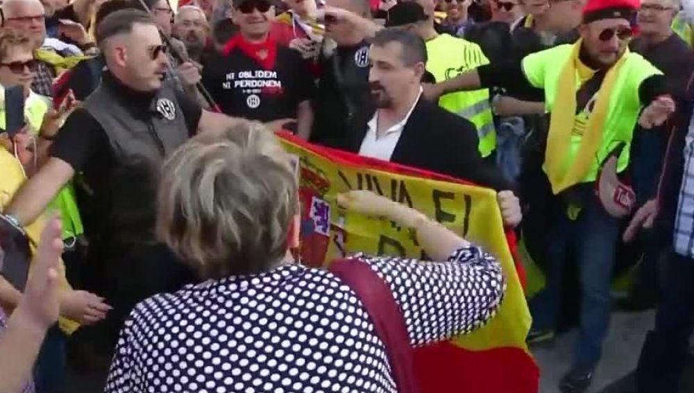 Bandera de España en la marcha independentista