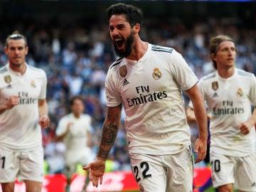Isco celebra su gol con el Real Madrid