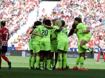 El Barcelona celebra un gol ante el Atlético