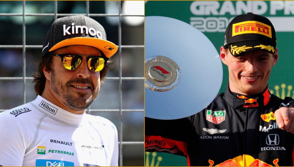 Fernando Alonso y Max Verstappen