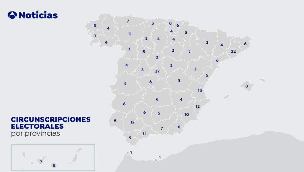 Mapa de las circunscripciones electorales en España