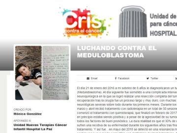 Captura de la petición en la Fundación Cris contra el cáncer