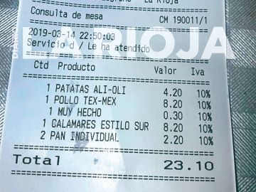 La factura del restaurante de Logroño