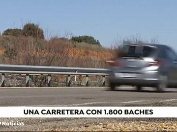 El tramo de los 1.800 baches en la carretera A66 entre León y Benavente