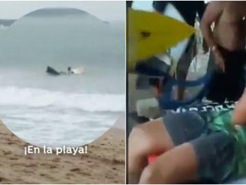 El momento en el que rescatan e intentar reanimar a Luzimara Souza