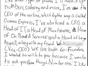 Carta del niño a la aerolínea