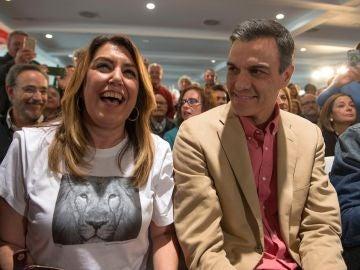 Pedro Sánchez y Susana Díaz en un acto electoral en Jaén