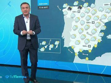 Se mantienen las lluvias en la mitad norte peninsular, más intensas en el Cantábrico