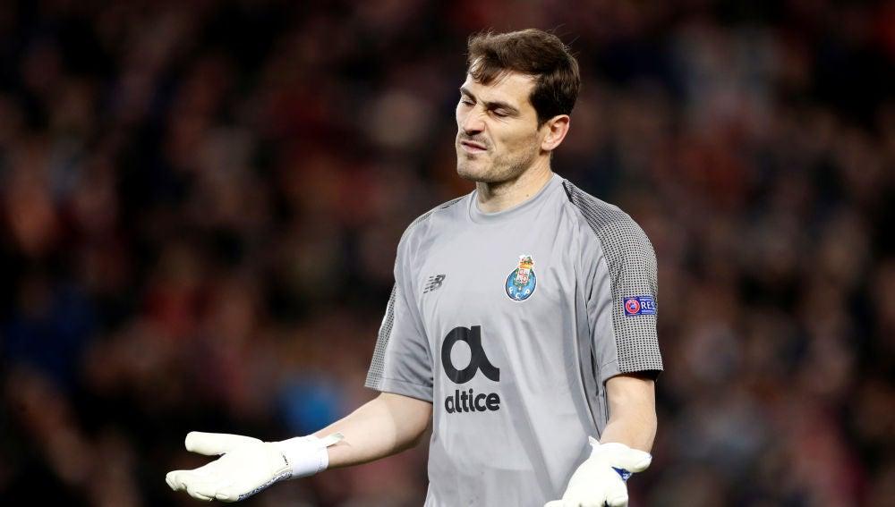 Iker Casillas, durante el partido contra el Liverpool