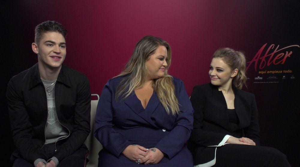 Hero Fiennes, Anna Todd y Josephine Langford de 'After'