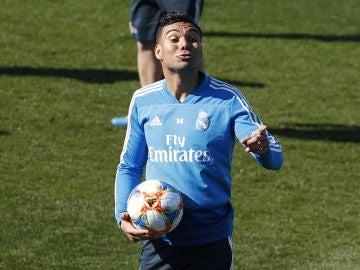 Casemiro, durante un entrenamiento del Real Madrid