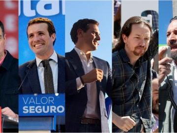 Imagen de Sánchez, Casado, Rivera, Iglesias y Abascal en el inicio de campaña electoral