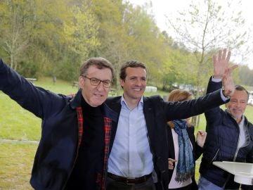 El presidente de la Xunta, Alberto Núñez Feijóo, y el candidato a la presidencia del Gobierno Pablo Casado