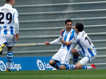 Juanmi celebra un gol
