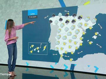 La semana empieza lluviosa en Galicia, Cantábrico y la mitad norte del país