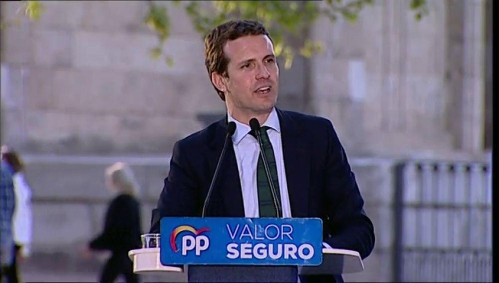 """Pablo Casado, en Madrid: """"Estoy con el líder político al que amenacen por dar un mitín en España"""""""
