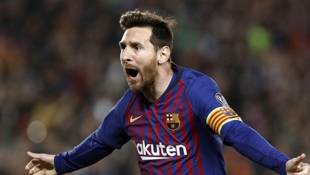 Leo Messi celebra un gol ante el United en el Camp Nou