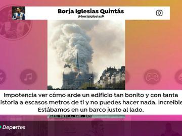 """Borja Iglesias fue testigo directo del incendio en Notre Dame: """"Impotencia por verla arder y no poder hacer nada"""""""