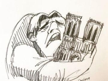 Quasimodo abrazando la catedral de Notre-Dame