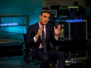 Pedro Sánchez, en la entrevista en Antena 3 Noticias