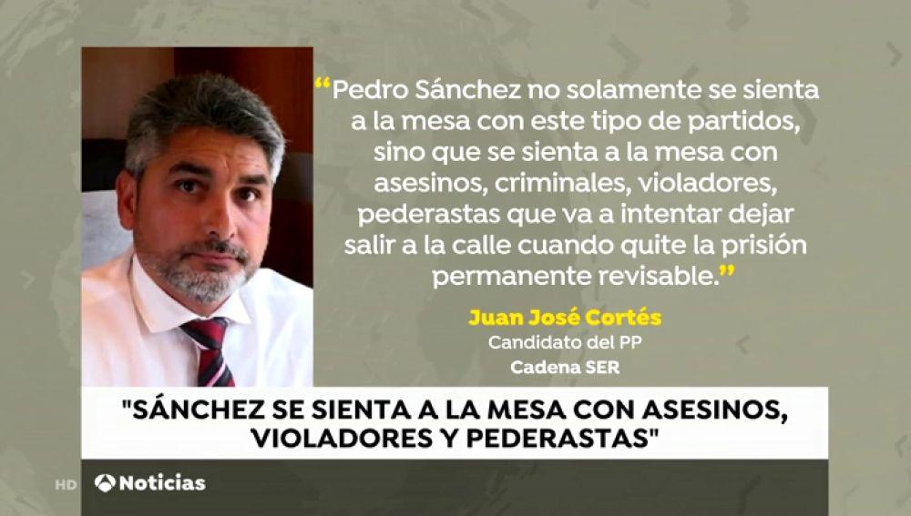 """Juan José Cortés: """"Sánchez se sienta con asesinos, criminales, violadores y pederastas"""""""