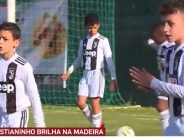 Cristiano Jr., en su partido con el benjamín de la Juventus