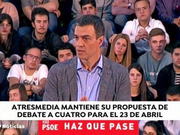 """Sánchez reitera que su """"disponibilidad"""" de debatir solo el martes 23 de abril"""