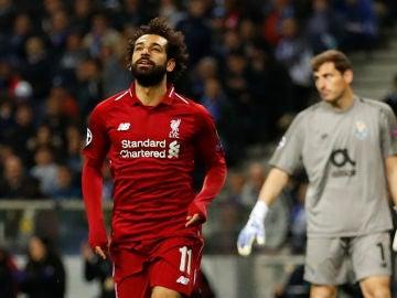 Mohamed Salah celebra un gol ante Casillas
