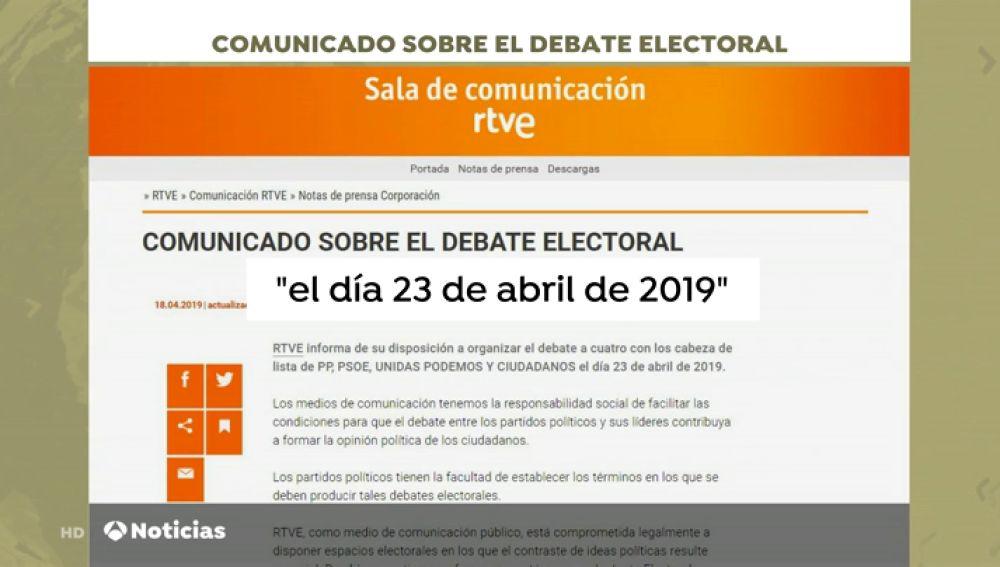 RTVE cede a las presiones de Sánchez y convoca el debate a cuatro el mismo día que Atresmedia