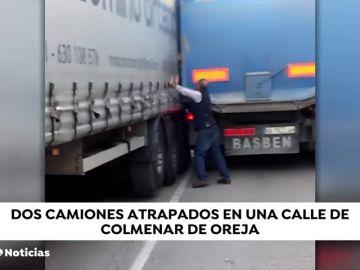 Dos camiones se quedan atascados en Colmenar de Oreja (Madrid)
