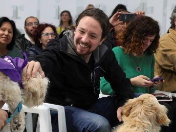 Pablo Iglesias en un acto de campaña electoral