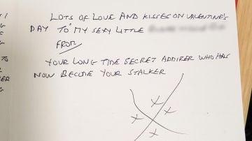 Una de las cartas enviadas a la presentadora