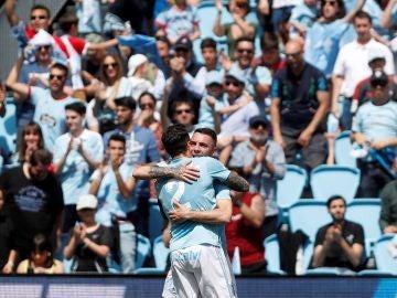 Iago Aspas celebra su gol ante el Girona