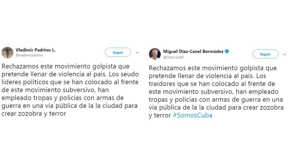Los tuits de Padrino y Díaz-Canel