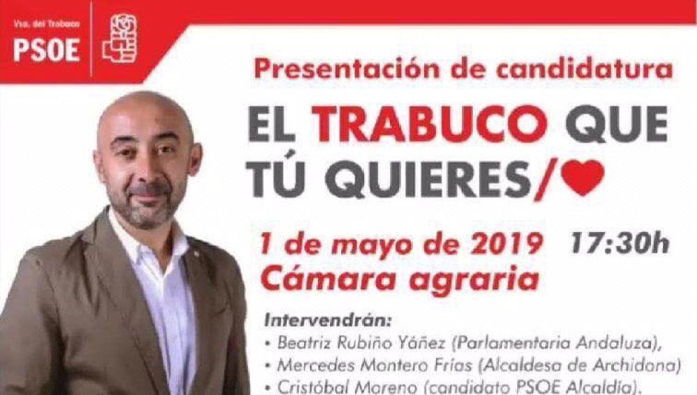 Cartel electoral del PSOE en Villanueva del Trabuco