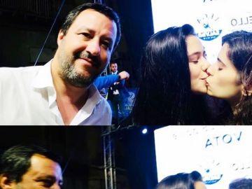 La fotografía de las jóvenes besándose junto a Salvini