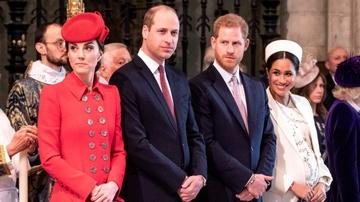 Los príncipes Guillermo y Harry con Kate Middlenton y Meghan Markle