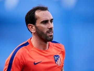 Godín en un entrenamiento con el Atlético de Madrid
