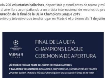 """La oferta de la UEFA en la que piden """"200 voluntarios bailarines"""""""