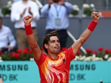 David Ferrer celebra su victoria contra Bautista