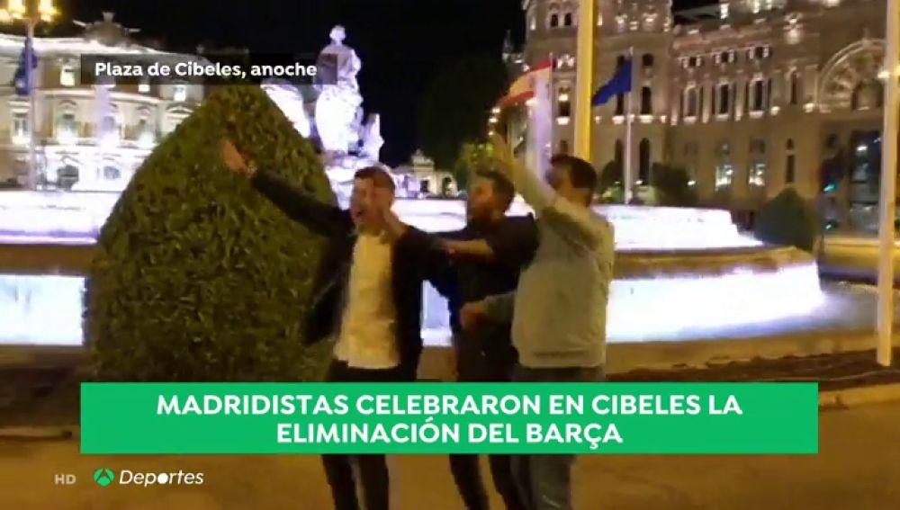 """Madridistas celebraron en Cibeles la eliminación del Barça: """"Un baño de humildad a los catalanes"""""""