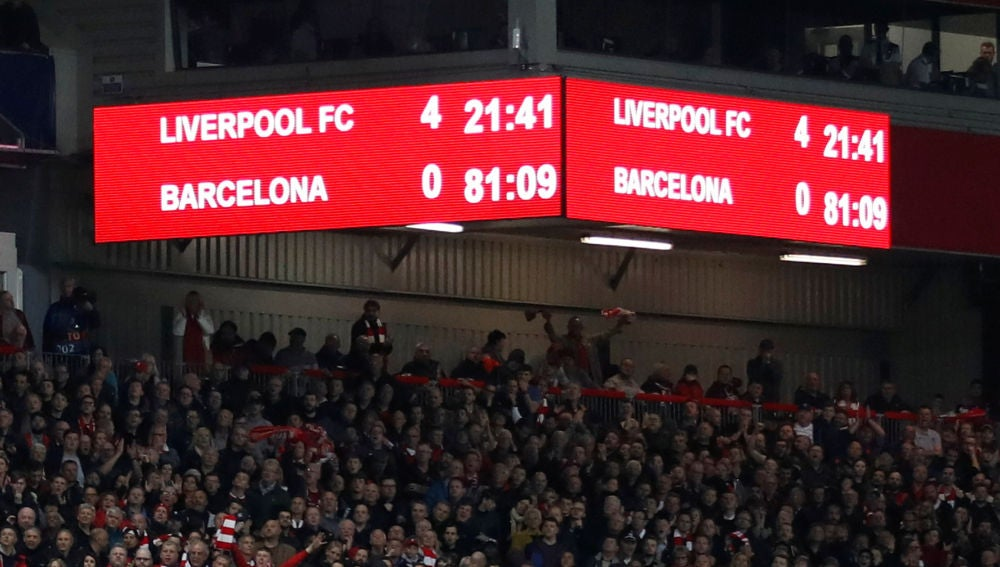 El marcador de Anfield en una noche histórica