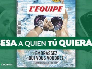 """La portada de 'L'Équipe' contra la homofobia da la vuelta al mundo: """"Besa a quien quieras"""""""