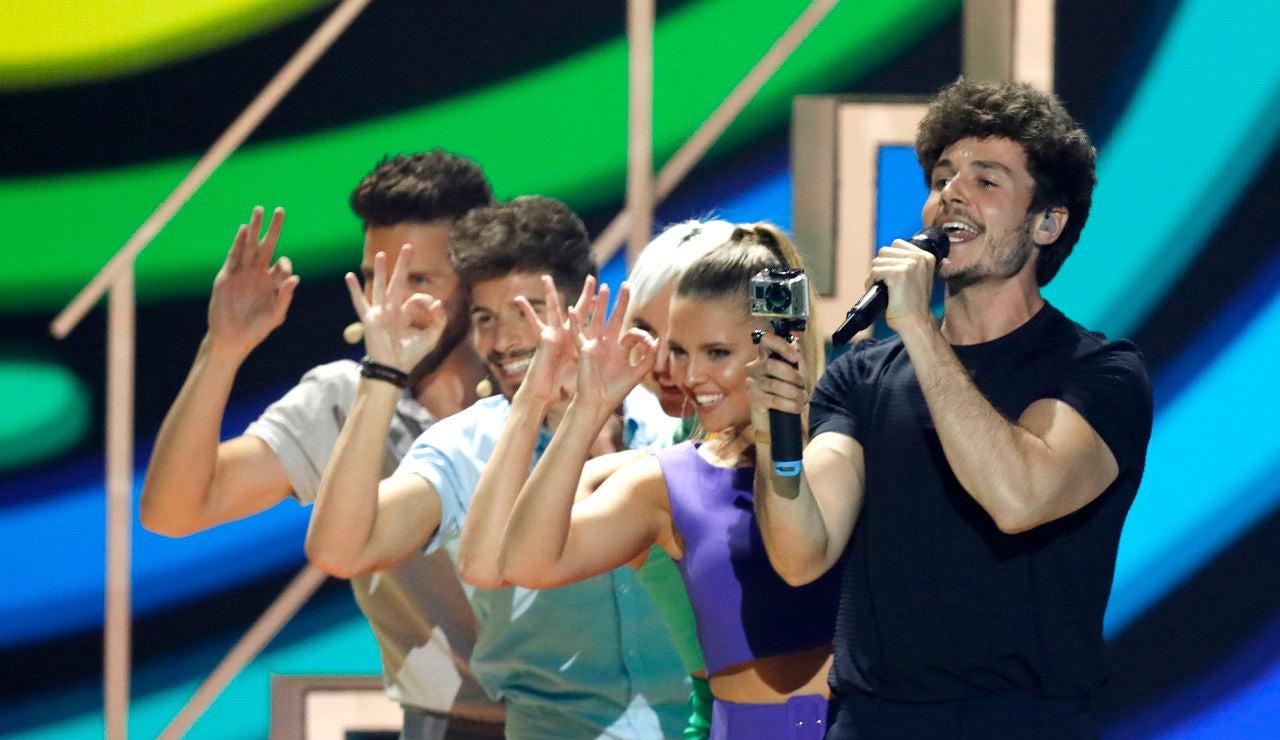 Miki durante su actuación de 'La Venda' en Eurovisión 2019