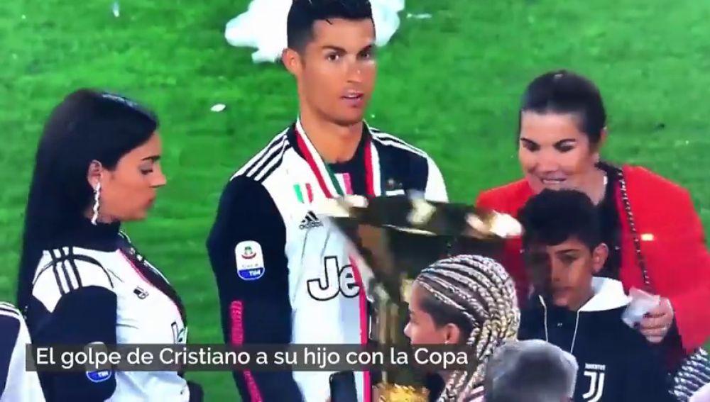 El golpe de Cristiano Ronaldo a su hijo con la Copa que se ha hecho viral