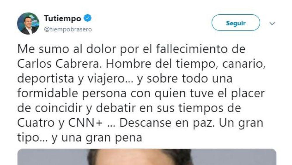 Roberto Brasero se despide del meteorólogo Carlos Cabrera tras su muerte