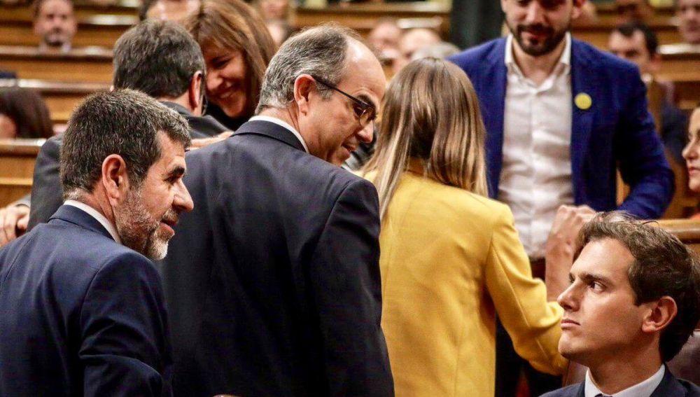 Albert Rivera, Jordi Sànchez y Jordi Turull