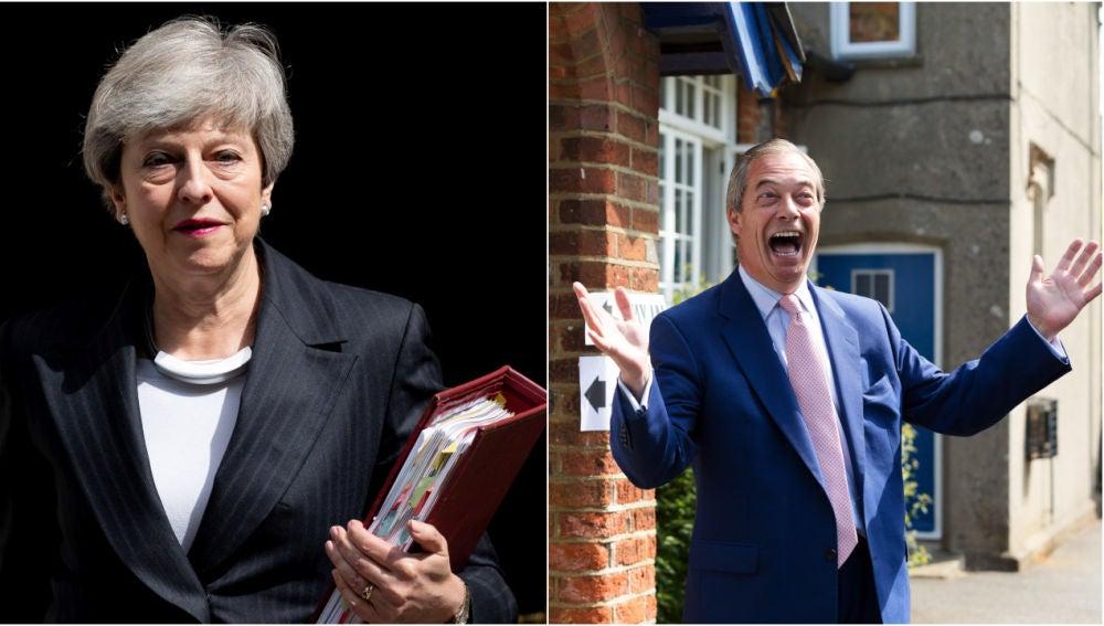 La primera ministra Theresa May y el líder del Partido del Brexit, Nigel Farage