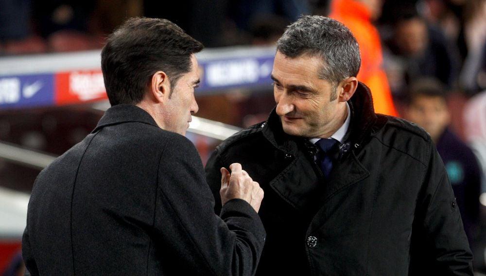 Marcelino y Valverde se saludan