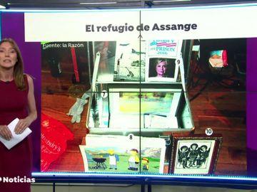 todo el material que guardaba Julian Assange en la embajada de Ecuador en Londres: